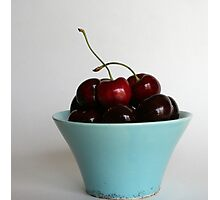 Sweet Cherries in a Blue Bowl Photographic Print