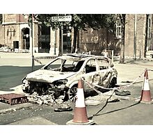 Burnt-out Police Car - London Riots 2011 Photographic Print