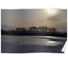 Frozen lake and sunset Poster