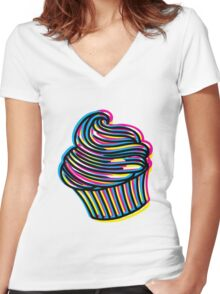 CMYK Cupcake Women's Fitted V-Neck T-Shirt