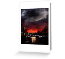 """""""ominous"""" - sunsetting beyond the car park  Greeting Card"""