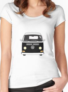 Early Bay VW Camper Front Black Women's Fitted Scoop T-Shirt
