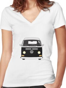 Early Bay VW Camper Front Black Women's Fitted V-Neck T-Shirt