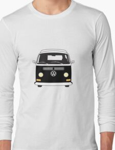 Early Bay VW Camper Front Black Long Sleeve T-Shirt