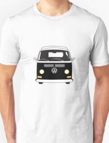 Early Bay VW Camper Front Black T-Shirt