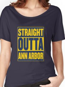 Maize and Blue Straight Outta AA Women's Relaxed Fit T-Shirt