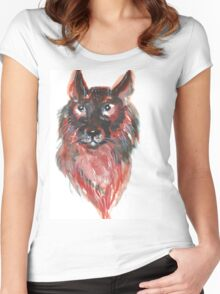 Hand drawn water color illustration of german shepherd Women's Fitted Scoop T-Shirt
