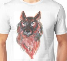 Hand drawn water color illustration of german shepherd Unisex T-Shirt