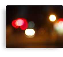 Abstract blur image of round spots of bright multicolored lights Canvas Print