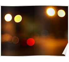 Abstract blur image of round spots of bright multicolored lights Poster