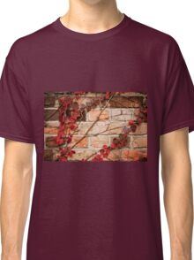 Red ivy leaves creeper on wall Classic T-Shirt