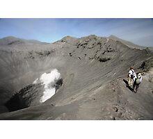 Tourists viewing the caldera of Bromo Mountain (Gunung Bromo) Photographic Print