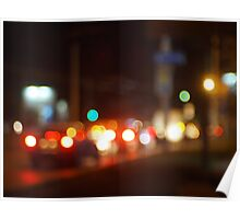 Abstract blur image of a night scene with bright lights Poster