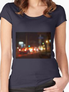 Abstract blur image of a night scene with bright lights Women's Fitted Scoop T-Shirt
