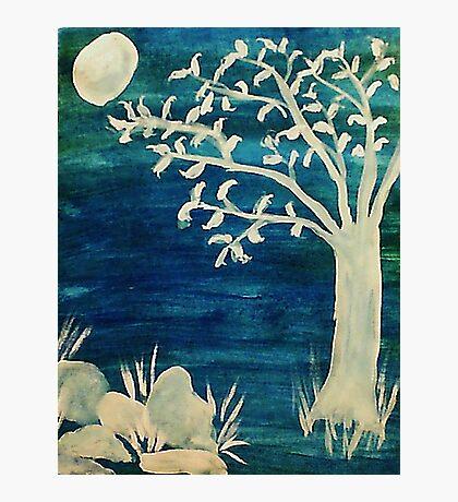 Tree in the dark,BOOOOOO, watercolor Photographic Print