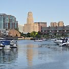 Reflections in the harbor by Jill Vadala