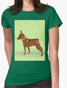 Hand drawn illustration of miniature pinscher. Womens Fitted T-Shirt