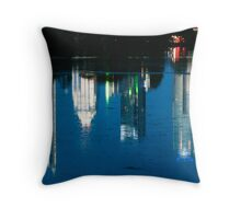 Reflections of Austin Skyline in Lady Bird Lake at night Throw Pillow
