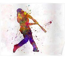 Baseball player hitting a ball Poster