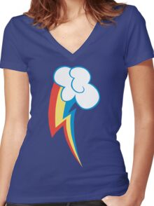 Rainbow Dash Cutie Mark Women's Fitted V-Neck T-Shirt