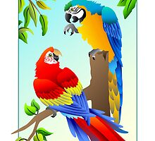 Pair of Macaws by fireberd904