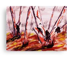 Gum Trees looking messy, watercolor Canvas Print