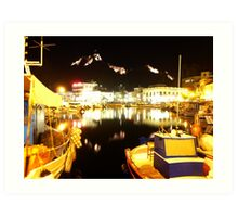 Port Of Myrina At Night Art Print