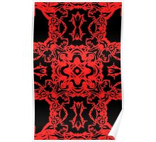 Red n Black Abstract Chaos Poster