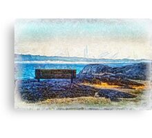 Fog View Bench #2 (painted) Canvas Print