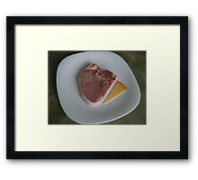 chop and dutch cheese on white plate Framed Print