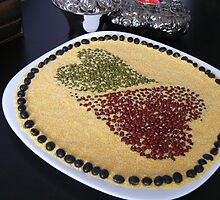 heart beans to white plate by LisaBeth