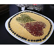 heart beans to white plate Photographic Print