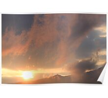 Colorful Clouds Over Mountains Poster