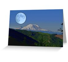Moon Over Rainier Greeting Card