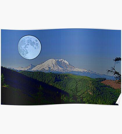 Moon Over Rainier Poster