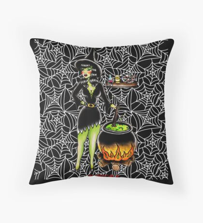 Halloween Tattoo flash | Witch Throw Pillow