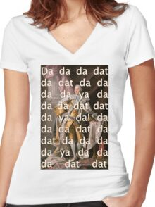 You'll be Back Hamilton King George III Da dat Women's Fitted V-Neck T-Shirt