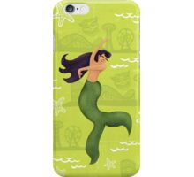 Coney Island Mermaid with Black Hair iPhone Case/Skin