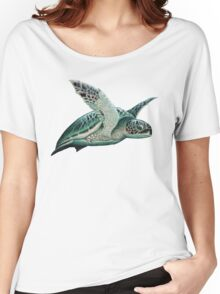 """""""Moonlit"""" - Green Sea Turtle, Acrylic Women's Relaxed Fit T-Shirt"""