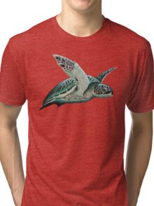 """Moonlit"" - Green Sea Turtle, Acrylic Tri-blend T-Shirt"