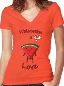 Watermelon is love Women's Fitted V-Neck T-Shirt