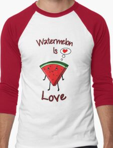 Watermelon is love Men's Baseball ¾ T-Shirt