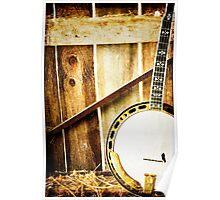 Vintage Banjo against barn wall Poster
