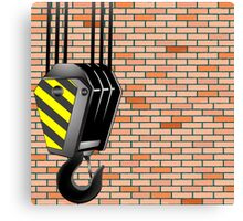 Crane hook over wall background Canvas Print