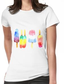 Watercolor Summer Popsicles Womens Fitted T-Shirt