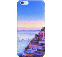 Digital Painting Of Positano Italy At Sunset iPhone Case/Skin