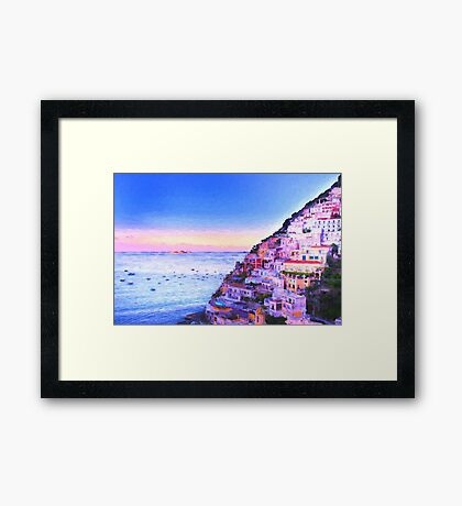 Digital Painting Of Positano Italy At Sunset Framed Print