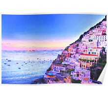 Digital Painting Of Positano Italy At Sunset Poster