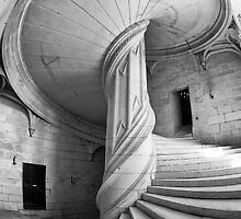 Chateau de la Rochefoucauld Stairway in B&W by Chris Tarling