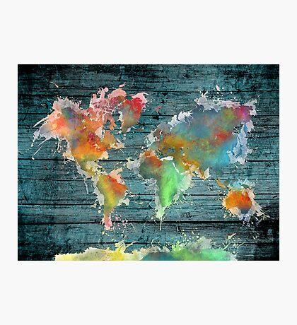 World map splash Photographic Print